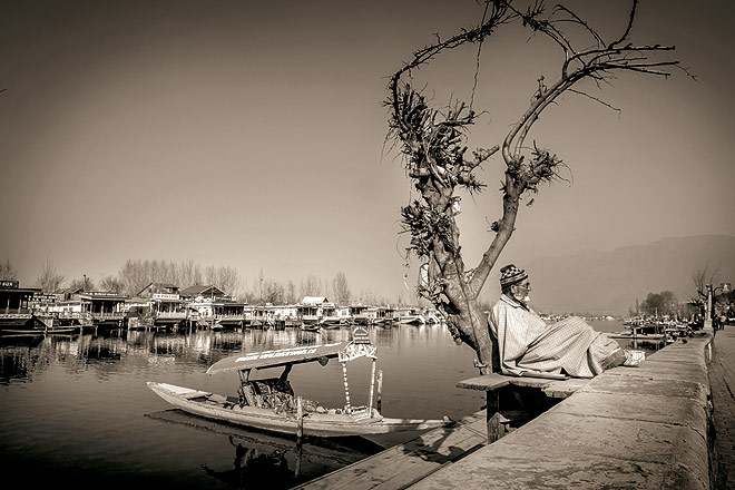 A view of the Dal Lake with houseboats in Srinagar