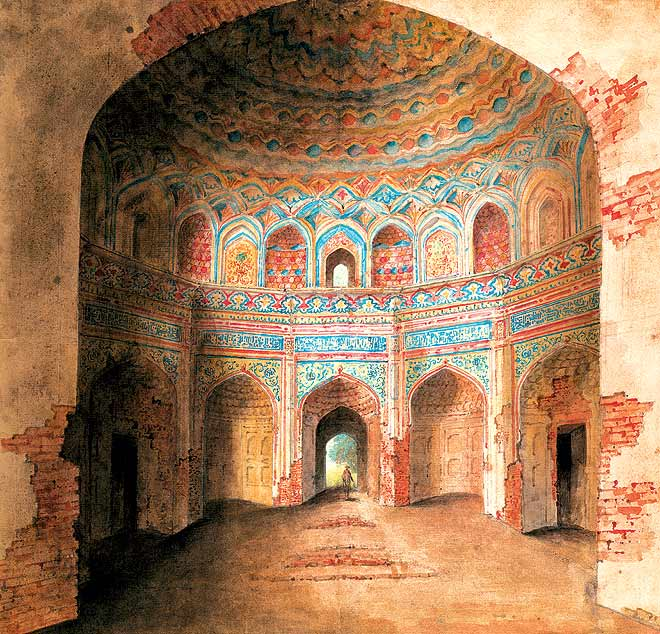 Interior of Afzal Khan's tomb at Agra, covered in painted stucco work