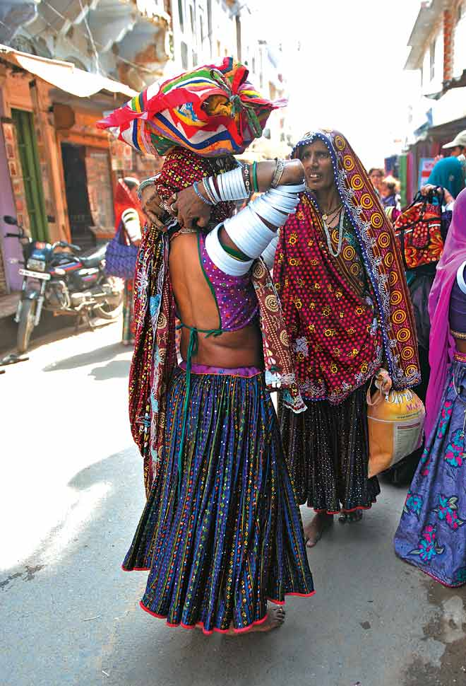 Local Rabari women in vibrant colours