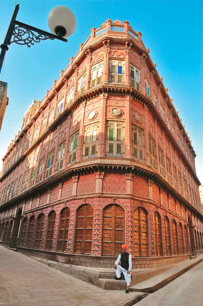 Rampuria haveli, built in 1933, has a colonial façade