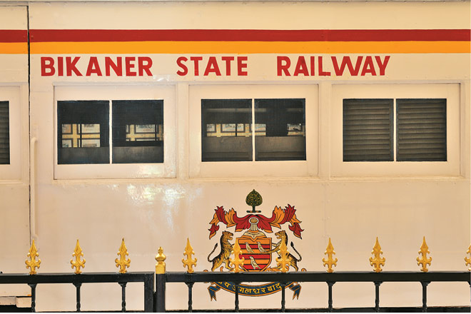 A replica of the first royal train carriage to Bikaner