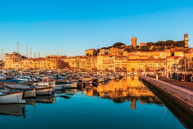 Cannes, bathed in the golden light of dusk