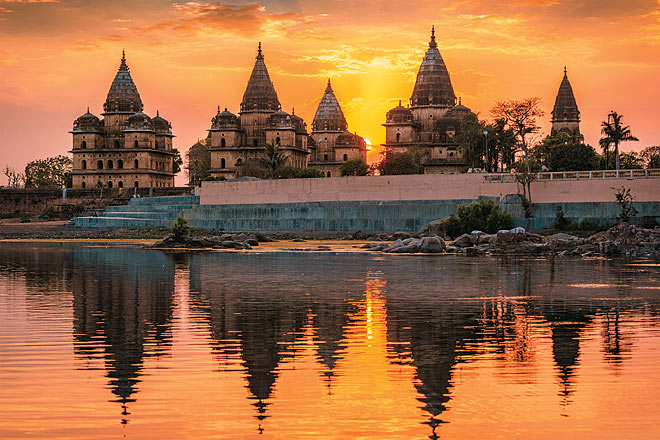 The royal cenotaphs of Orchha at sunset
