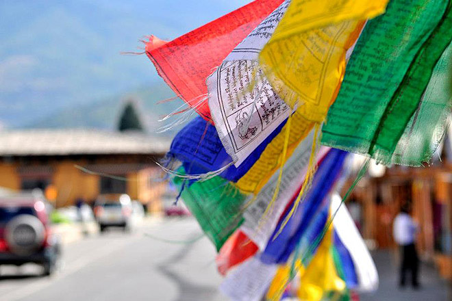 Prayer flags adorn the streets in Thimphu
