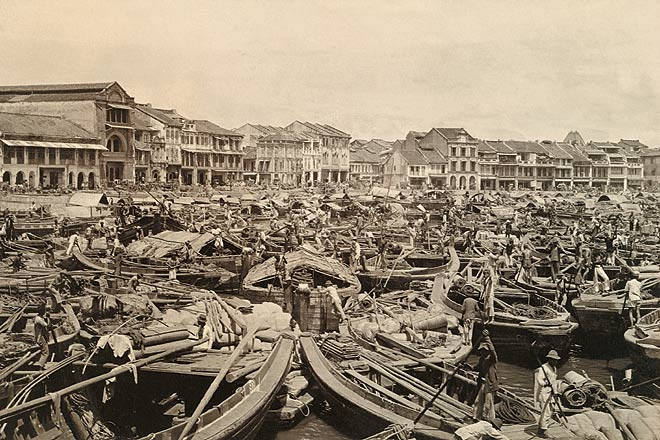 Busy Singapore port in 1910