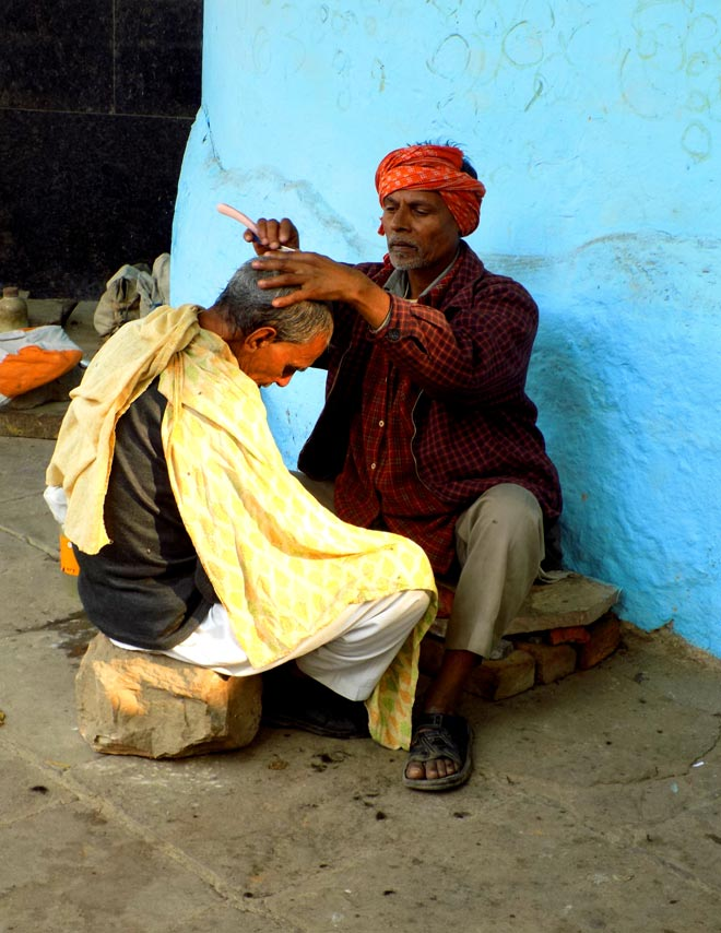 A barber on the ghats
