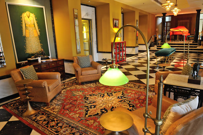The chic lobby at Narendra Bhawan