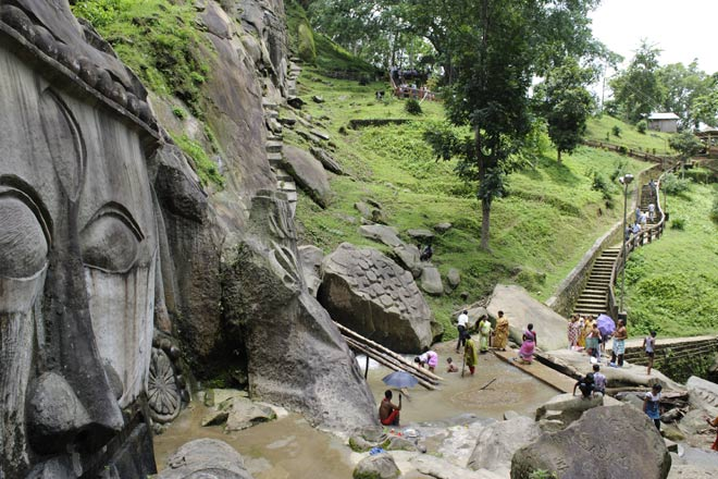 Pilgrims come to pay their respects at the ancient rock-cut enclave of Unakoti in north Tripura