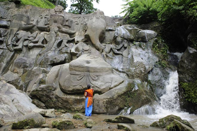 Giant bas relief of tantric Ganeshas in Unakoti