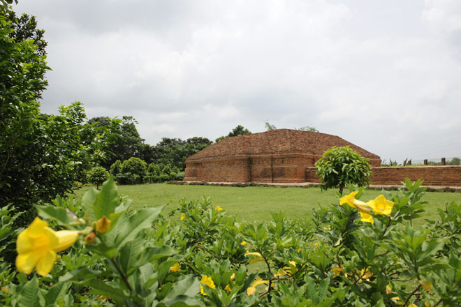 A recently excavated remains of a giant Buddhist monastery and stupa in Boxanagar on the Bangladesh border
