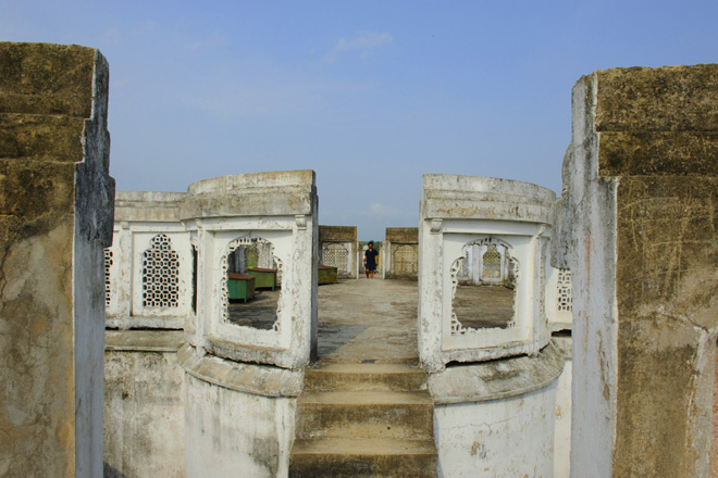 A view of the terrace of the Neermahal palace of the erstwhile Manikya kings of Tripura