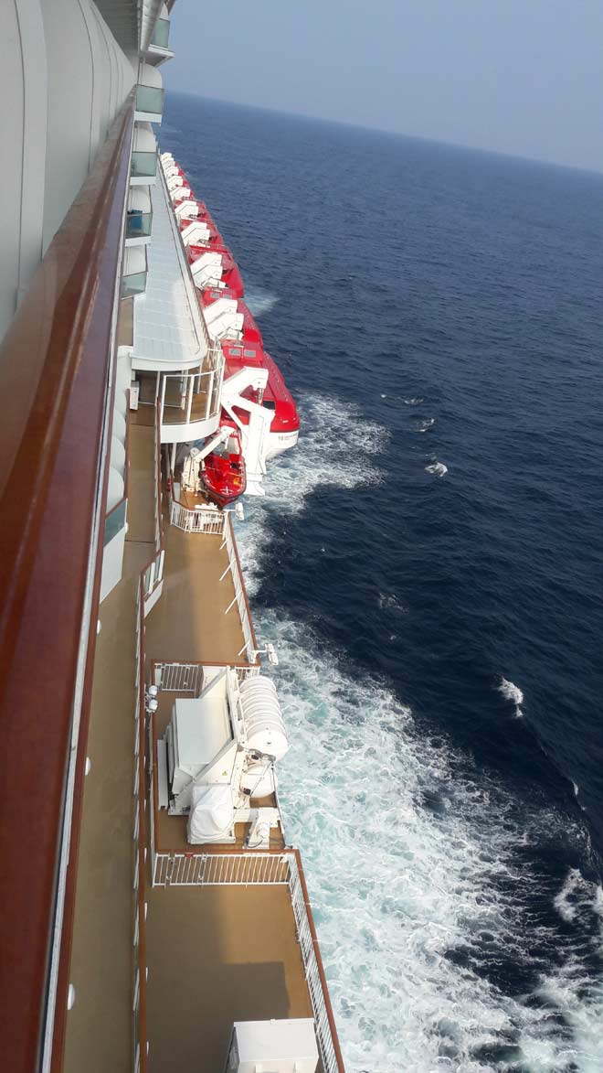 A view of the lower deck of the ship as it sails on the Arabian Sea