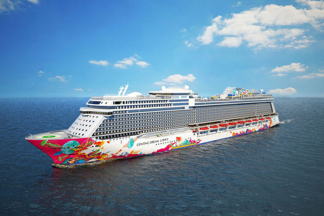 The Genting Dream, Asia's newest luxury cruise ship, sets sail