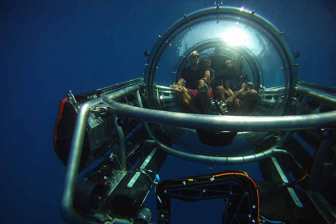 A submersible on board the ship for underwater adventures