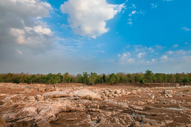 Pools remain among the dried up Pench river